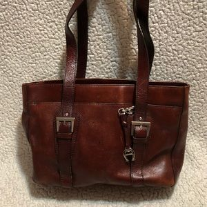 Etienne Aigner Oxblood Leather Tote.